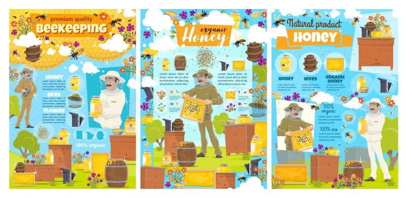 Produzione del miele, azienda agricola dell'arnia di apicoltura illustrazione di stock