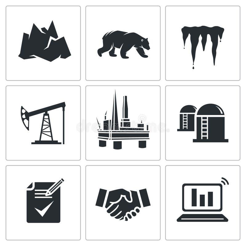 Produzione di petrolio nelle icone artiche di vettore messe illustrazione di stock