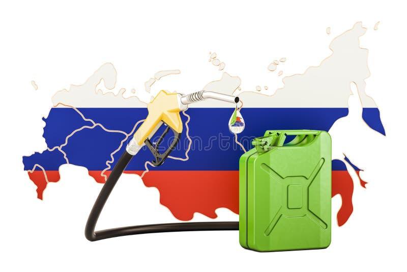 Produzione e commercio di benzina in Russia, concetto rappresentazione 3d illustrazione di stock
