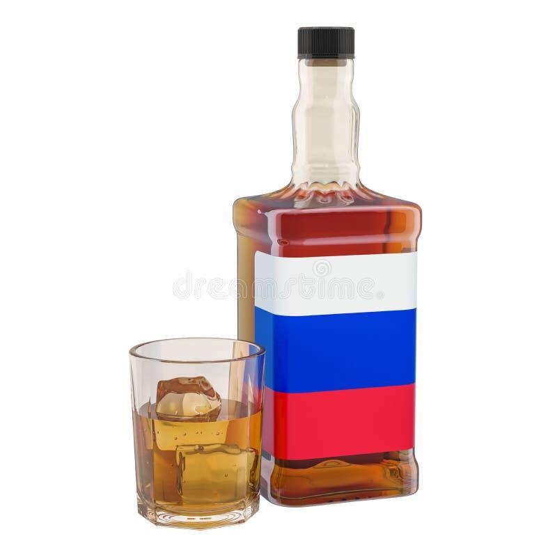Produzione e consumo di bevande in Russia, concetto dell'alcool rappresentazione 3d illustrazione vettoriale