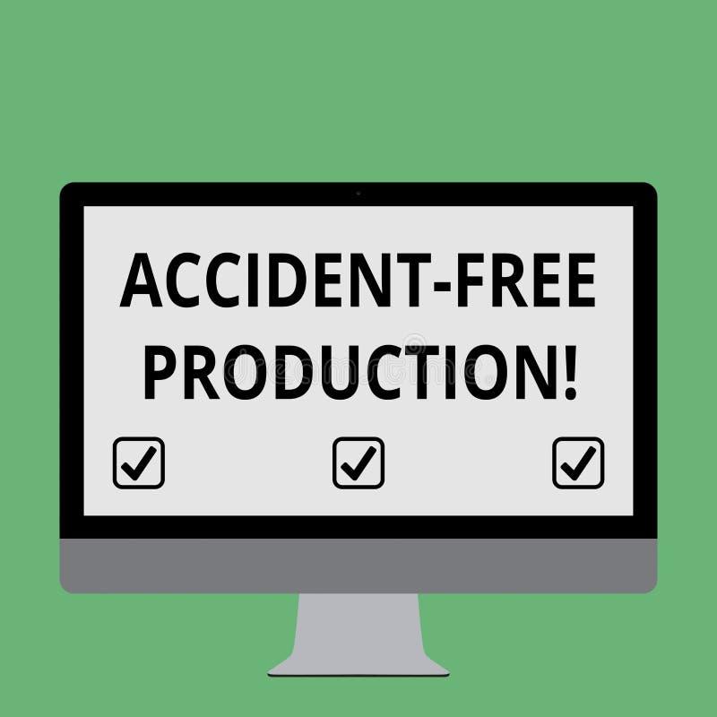 Produzione libera di incidente del testo della scrittura Concetto che significa produttività senza lavoratori danneggiati nessun  illustrazione vettoriale