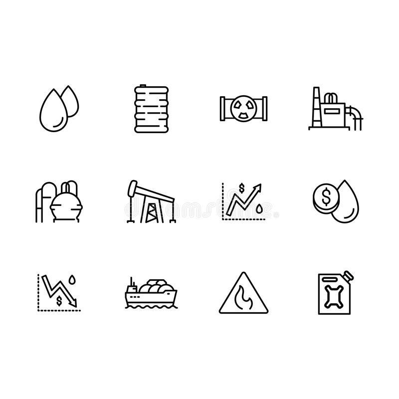 Produzione stabilita dell'icona di vettore di benzina e fue, raffineria di petrolio, prodotti petroliferi del trasporto e benzina illustrazione vettoriale