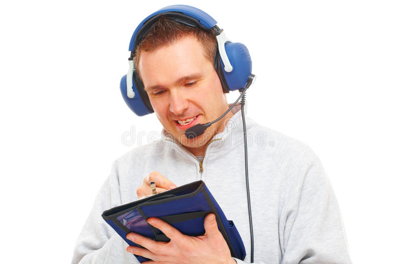 Proef met hoofdtelefoon en knee-pad stock afbeeldingen