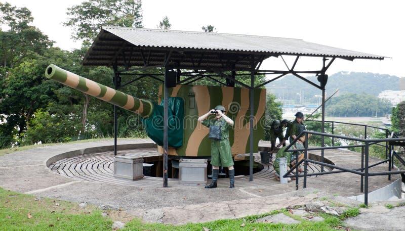 Proef militairen bij Fort Siloso royalty-vrije stock fotografie