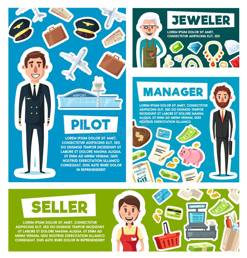 Proef, verkoper of manager en juwelierberoep stock illustratie