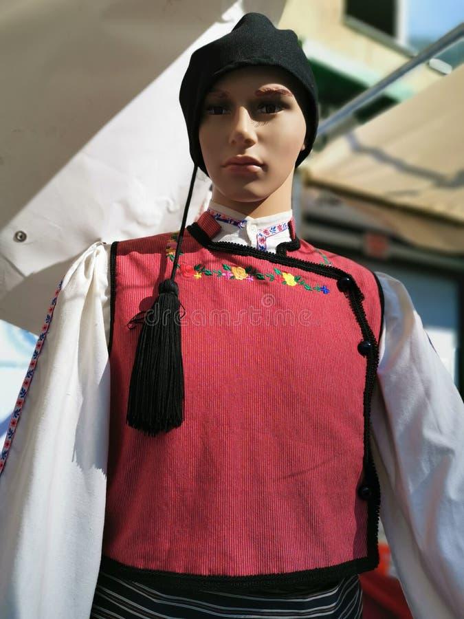 Proefmanier - traditioneel Grieks kostuum royalty-vrije stock afbeelding