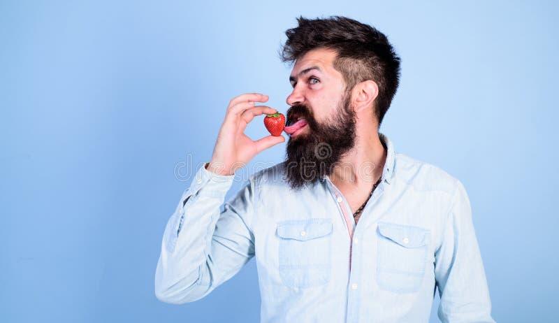 Proeft zo de zomer Mensen knappe hipster met lange baard die aardbeitong likken Hipster geniet van sappig rijp rood stock afbeeldingen