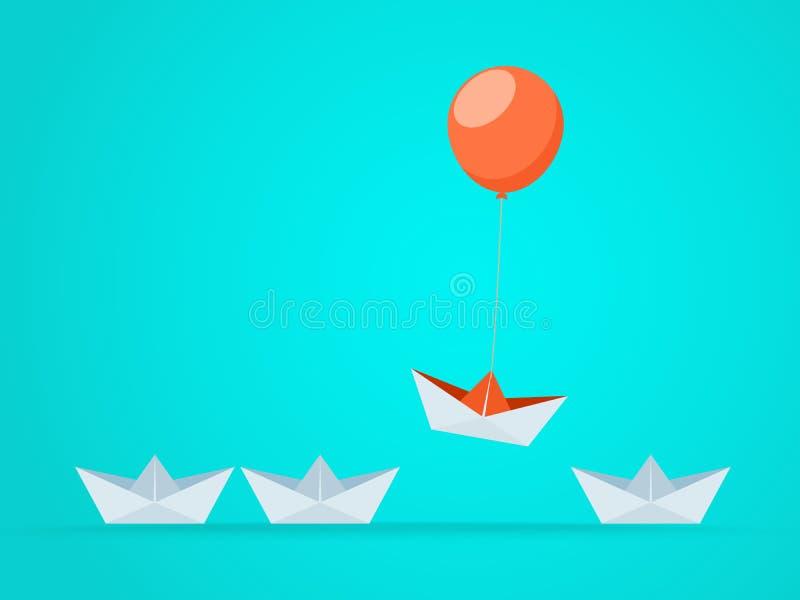 Proeminente o barco aumenta acima com balão Oportunidades da vantagem do negócio e conceito do sucesso ilustração do vetor