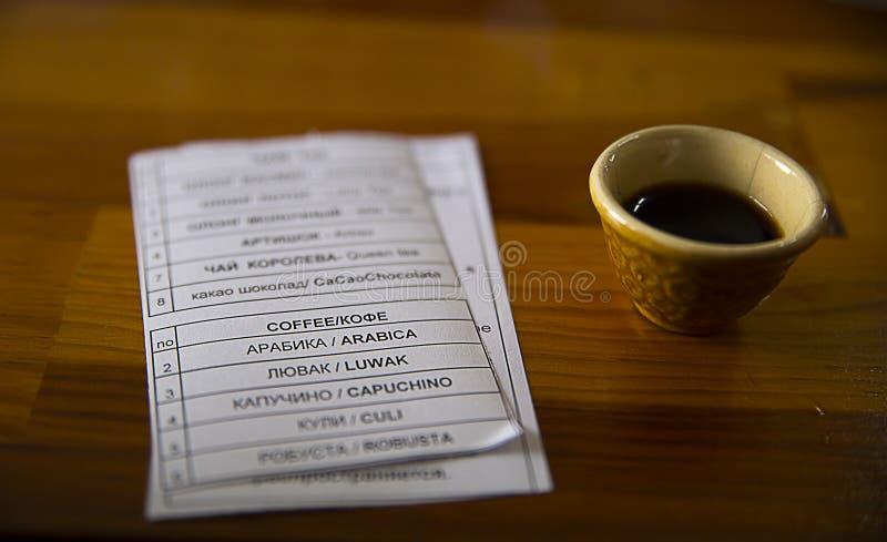 proevende koffie, thee stock afbeelding