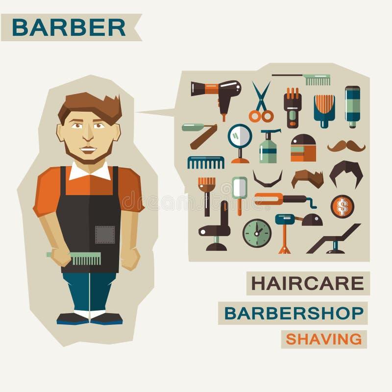Profesión de la gente Infographic plano peluquero stock de ilustración