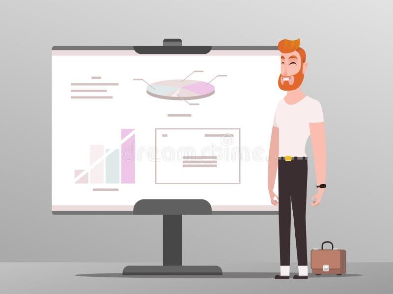 Profesión del CEO del hombre de negocios que muestra cartas en la sala de conferencias en el tablero blanco ilustración del vector