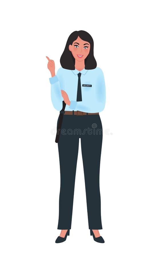 Profesional del guardia de la muchacha en uniforme en una actitud libre La profesión del guardia de seguridad Ejemplo del vector libre illustration