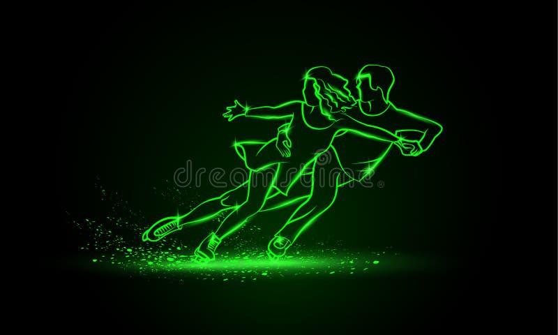 Profesional deporte los pares del patinaje artístico De neón linear verde patinaje artístico los pares en un fondo negro stock de ilustración