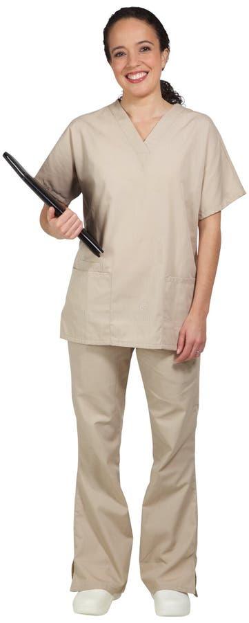 Profesional médico hispánico que sostiene una carpeta en su cintura fotos de archivo