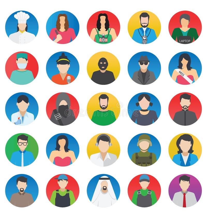 Profesional y gente que los iconos del vector del color fijan eso puede ser modificado o corregir fácilmente stock de ilustración