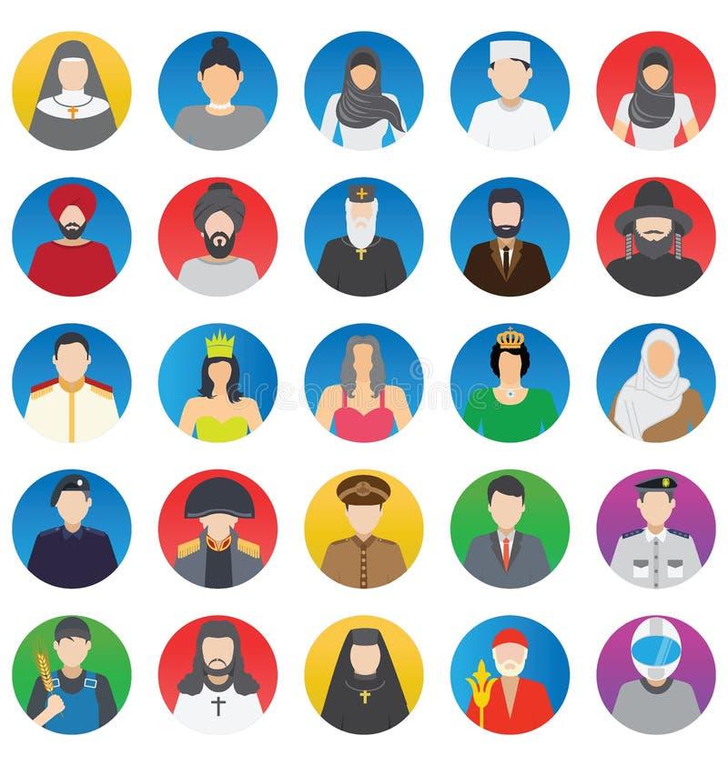 Profesional y gente que los iconos del vector del color fijan eso puede ser modificado o corregir fácilmente ilustración del vector