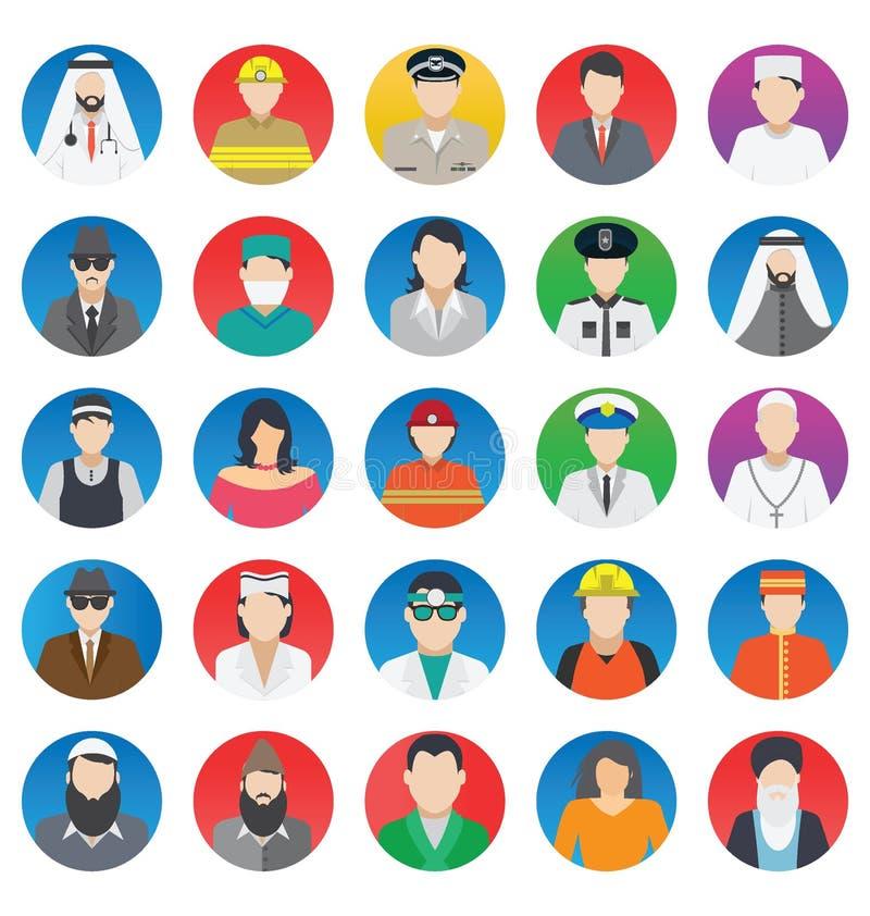 Profesional y gente que los iconos del vector del color fijan eso puede ser modificado o corregir fácilmente el sistema profesion stock de ilustración