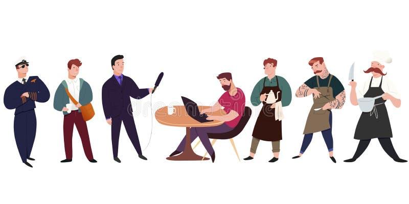 Profesionales 7 hombres. Ilustración del hombre aislada en fondo blanco. Estilo plano del ejemplo del vector ilustración del vector