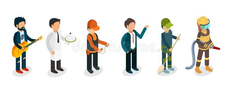 Profesionales masculinos aislados en el fondo blanco Músico isométrico, bombero, camarero, electricista, vector del portero stock de ilustración