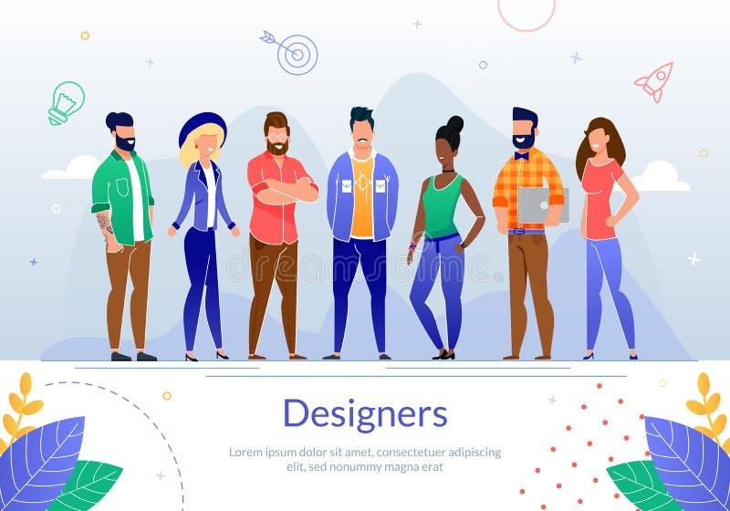 Profesionales Team Flat Vector Poster del diseño ilustración del vector