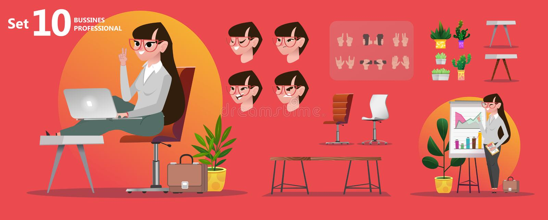 Profesiones de la oficina de la mujer Caracteres estilizados fijados para la animación ilustración del vector