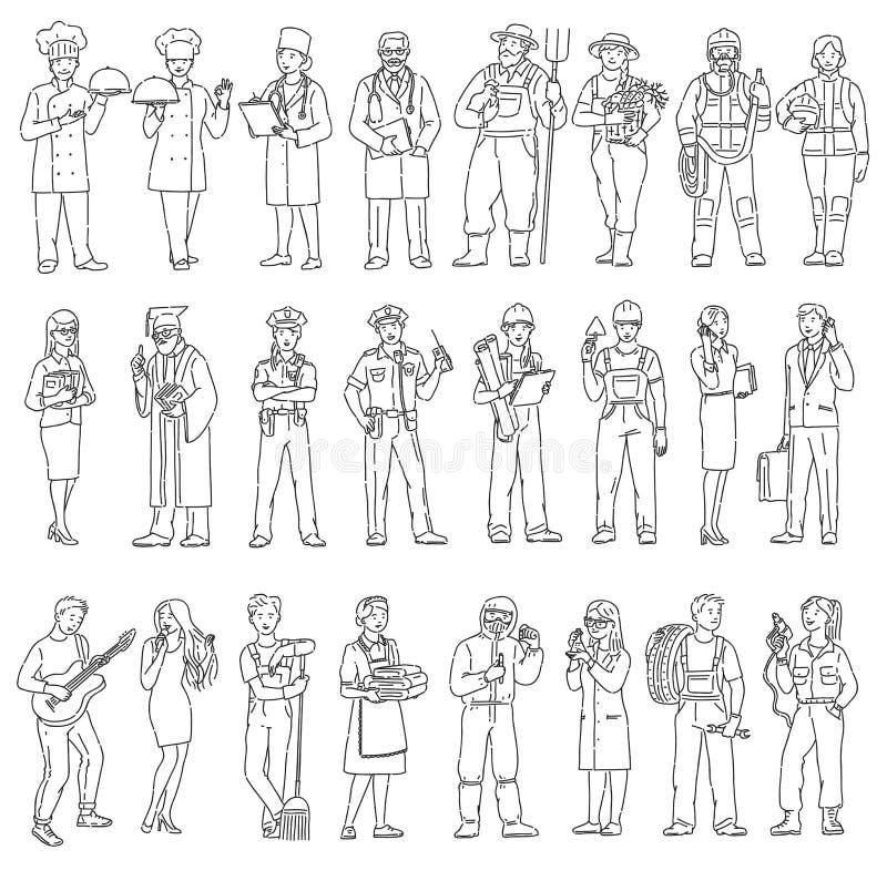 Profesiones de los trabajadores de las mujeres y de los hombres diversas en uniforme Ejemplo blanco del negro del vector de la ge stock de ilustración