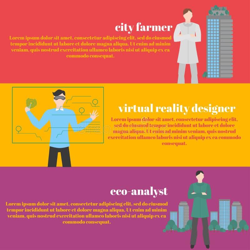 Profesiones futuras fijadas Empleo futurista Hombre con las auriculares de VR Realidad de Virtual del diseñador para la educación stock de ilustración