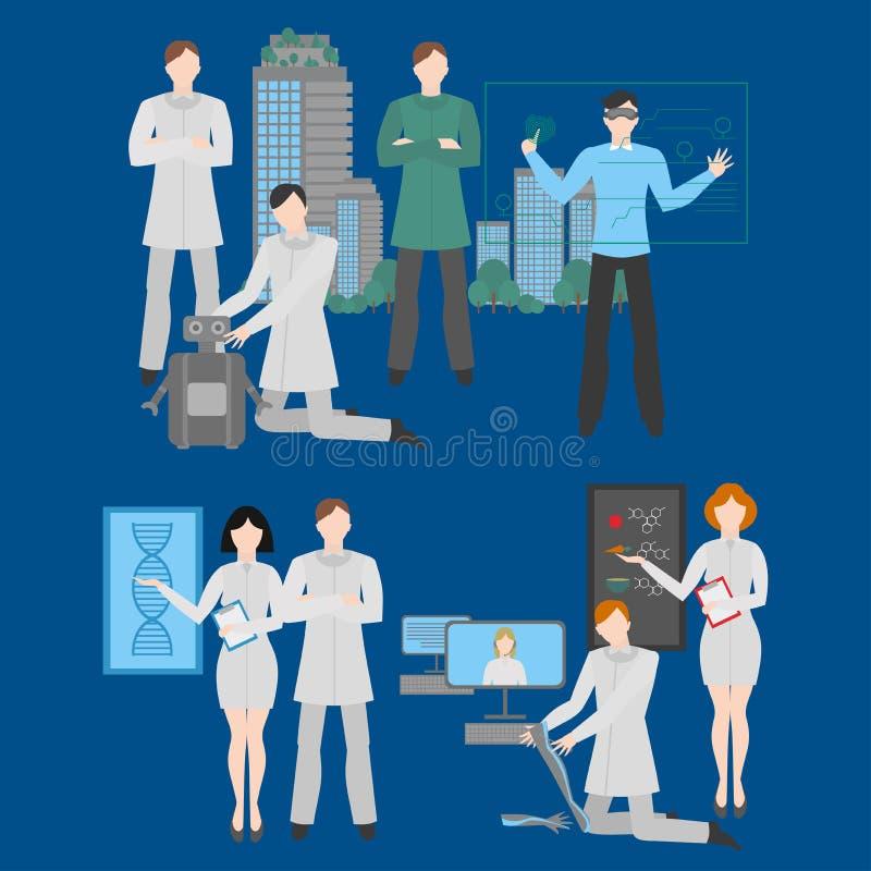 Profesiones futuras fijadas Empleo futurista Trabaje en medicina, el edificio, el diseño y robótica Él tecnología, realidad virtu ilustración del vector