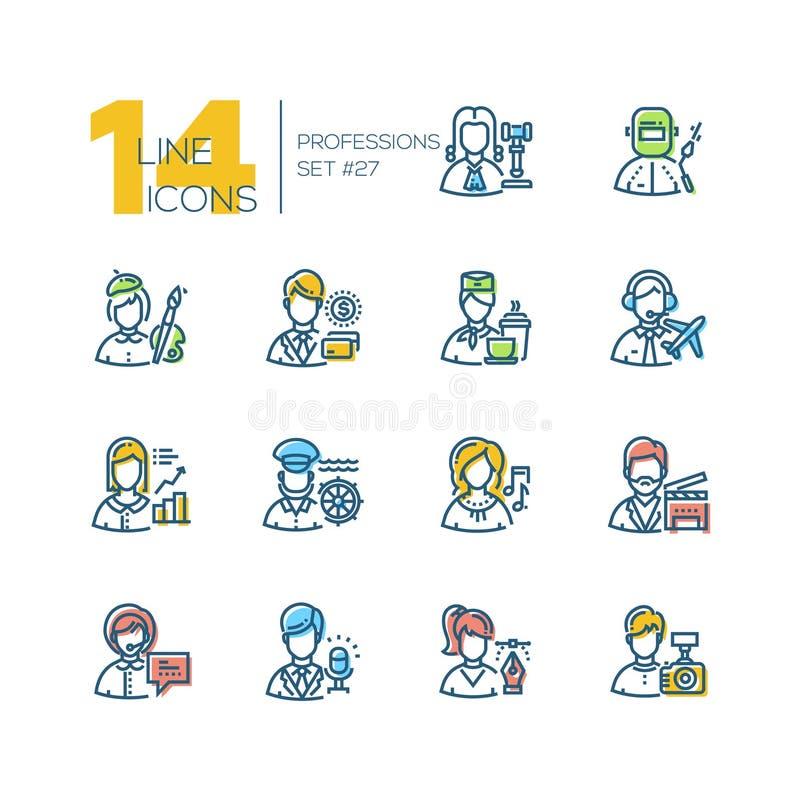 Profesiones - sistema de la línea iconos del estilo del diseño stock de ilustración