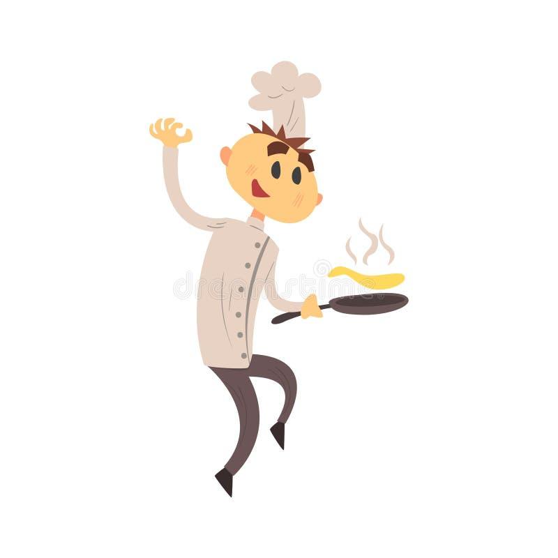 Profesjonalista Cook W klasyk kopii Breasted Białej kurtce I Toque Smaży bliny ilustracji
