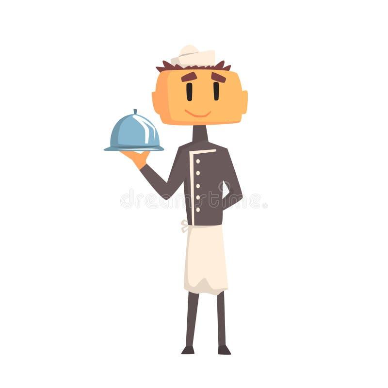 Profesjonalista Cook W klasyk kopii Breasted Popielatej kurtce I Toque mienie Zakrywającym Przygotowywającym naczyniu ilustracja wektor