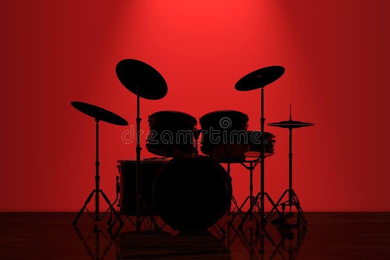 Profesjonalista skały bębenu zestaw z Czerwonym Backlight przed ścianą ilustracji