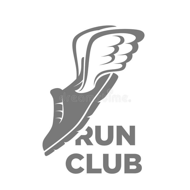 Profesjonalisty bieg klubu logotyp z latanie buta ilustracją ilustracji