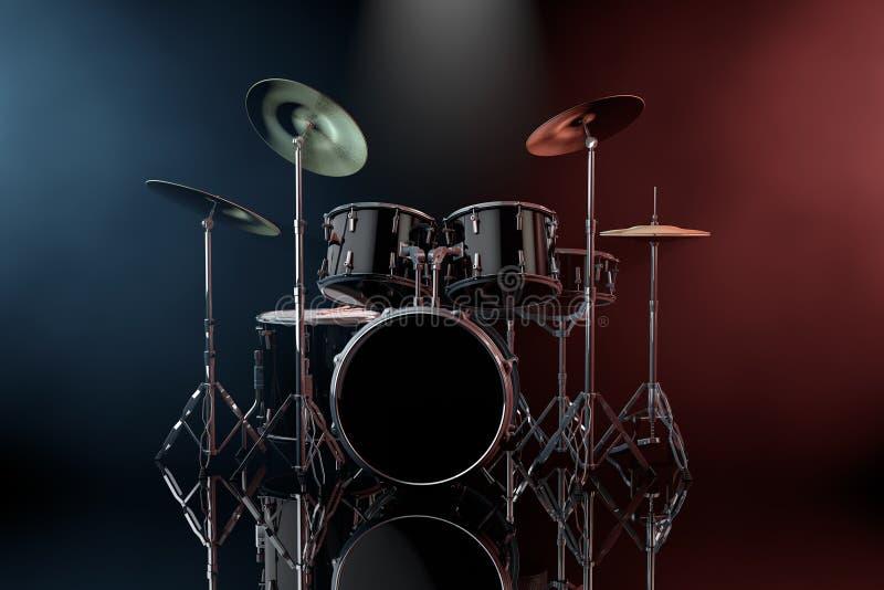 Profesjonalisty Czarnego bębenu Rockowy zestaw w koloru Wolumetrycznym świetle ilustracja wektor