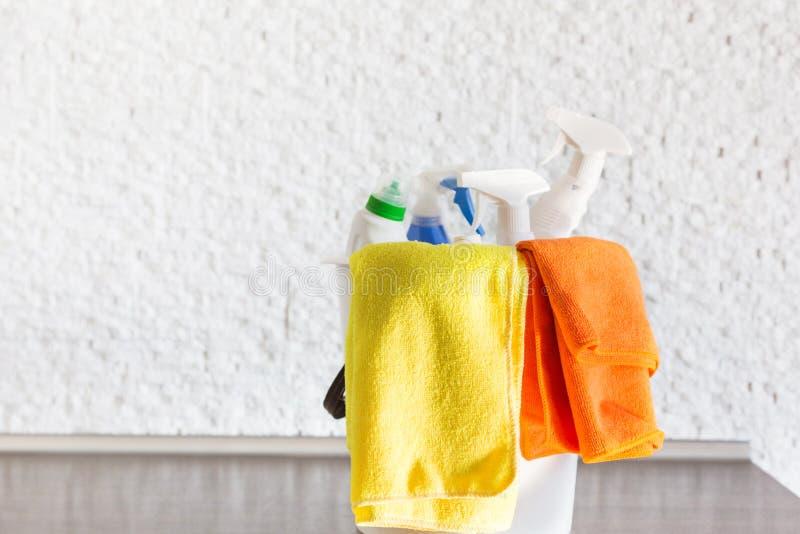 Profesjonalisty domu czyścić Młoda kobieta czyści mieszkanie W górę, łachmany, gąbki i wiadro, dostawa personel zdjęcia stock