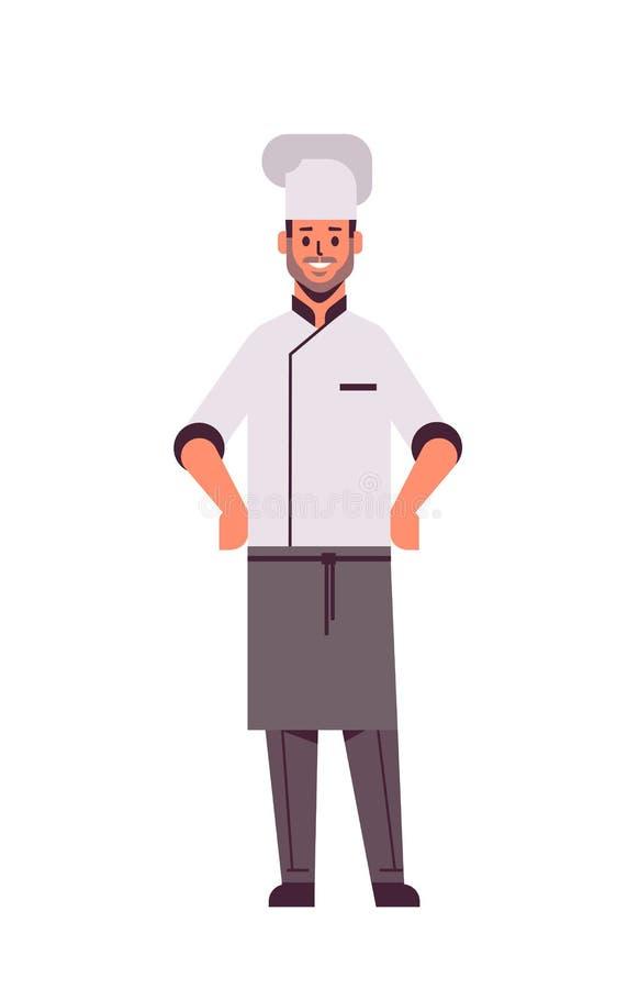 Profesjonalny kucharz stojący w restauracji z posągiem w idei gotowania o pełnej długości royalty ilustracja
