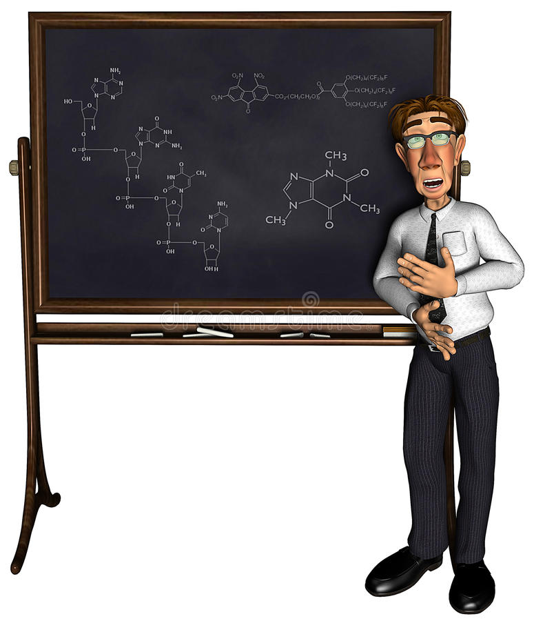 profesor 3d que enseña a la historieta 3 stock de ilustración