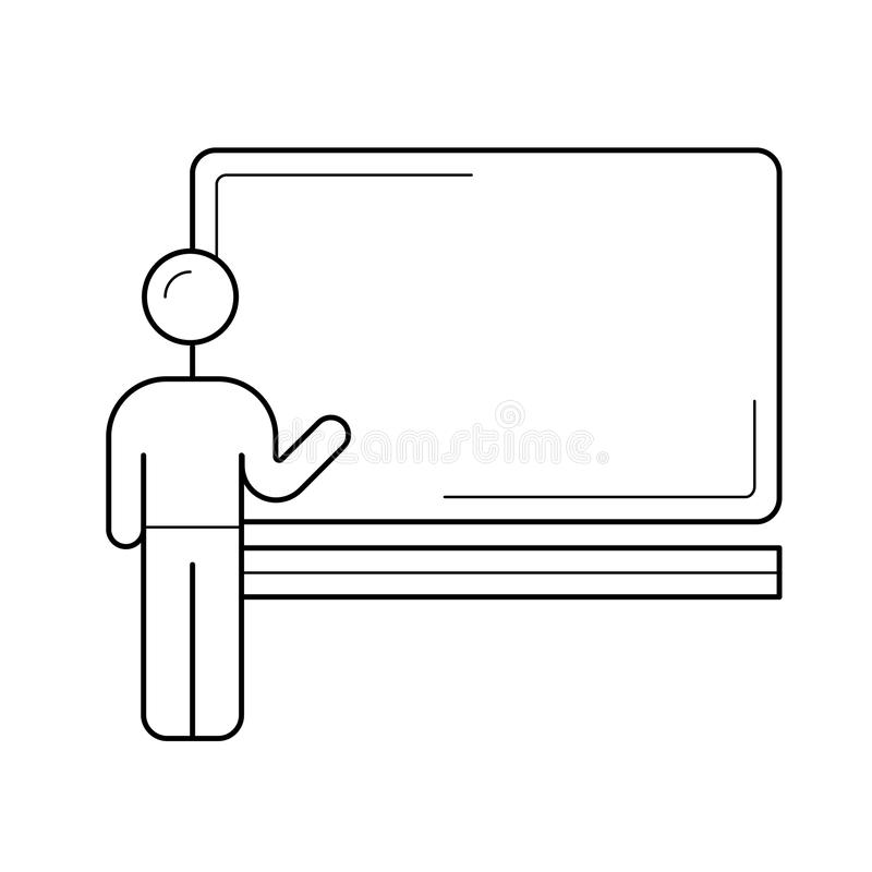 Profesor al lado de la línea icono del vector de la pizarra ilustración del vector