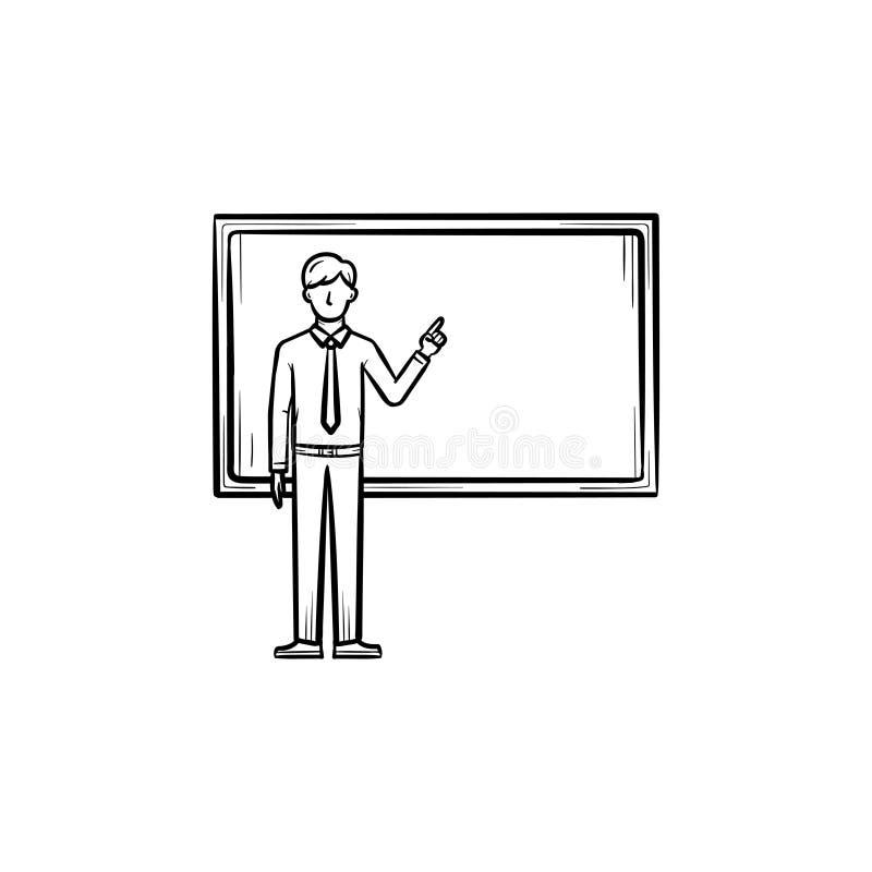 Profesor al lado del icono dibujado mano de la pizarra libre illustration