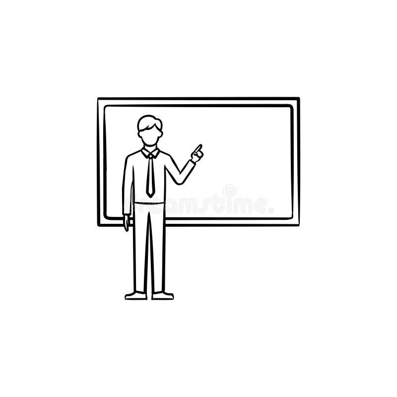Profesor al lado del icono dibujado mano de la pizarra stock de ilustración