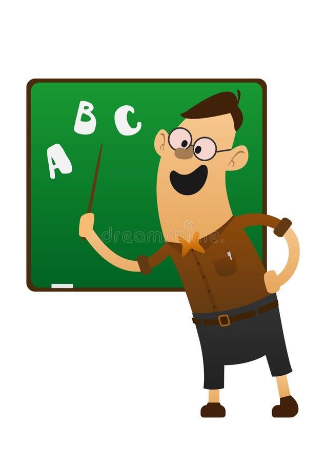 Profesor alegre que señala a la pizarra stock de ilustración
