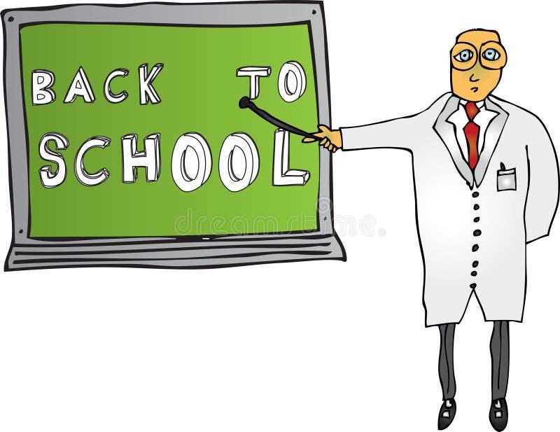 Profesor con de nuevo a la escuela imagen de archivo