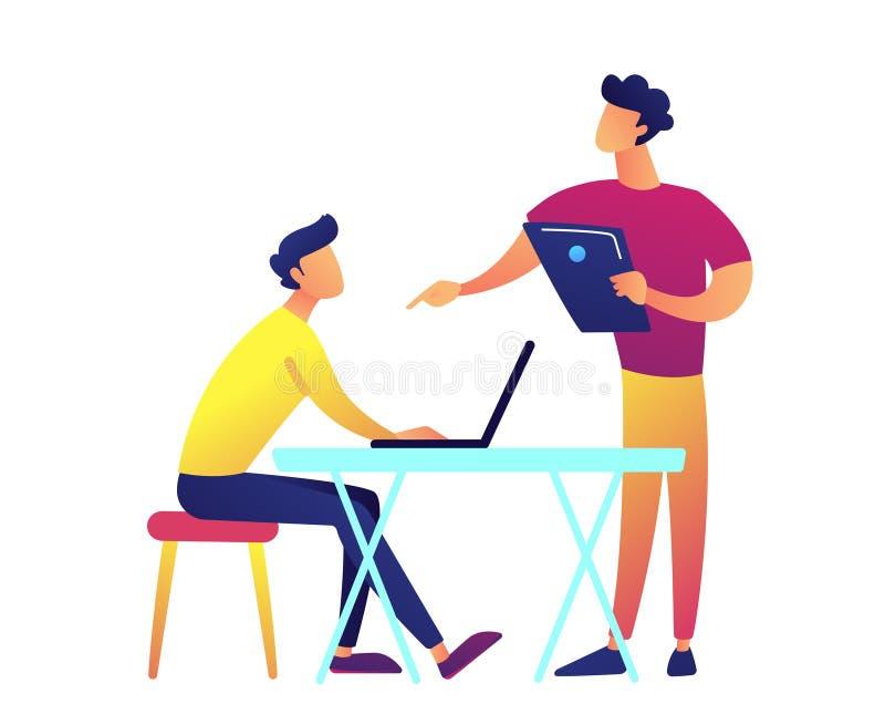 Profesor con el discurso del ordenador portátil y estudiante con el ordenador portátil en el ejemplo del vector del escritorio ilustración del vector