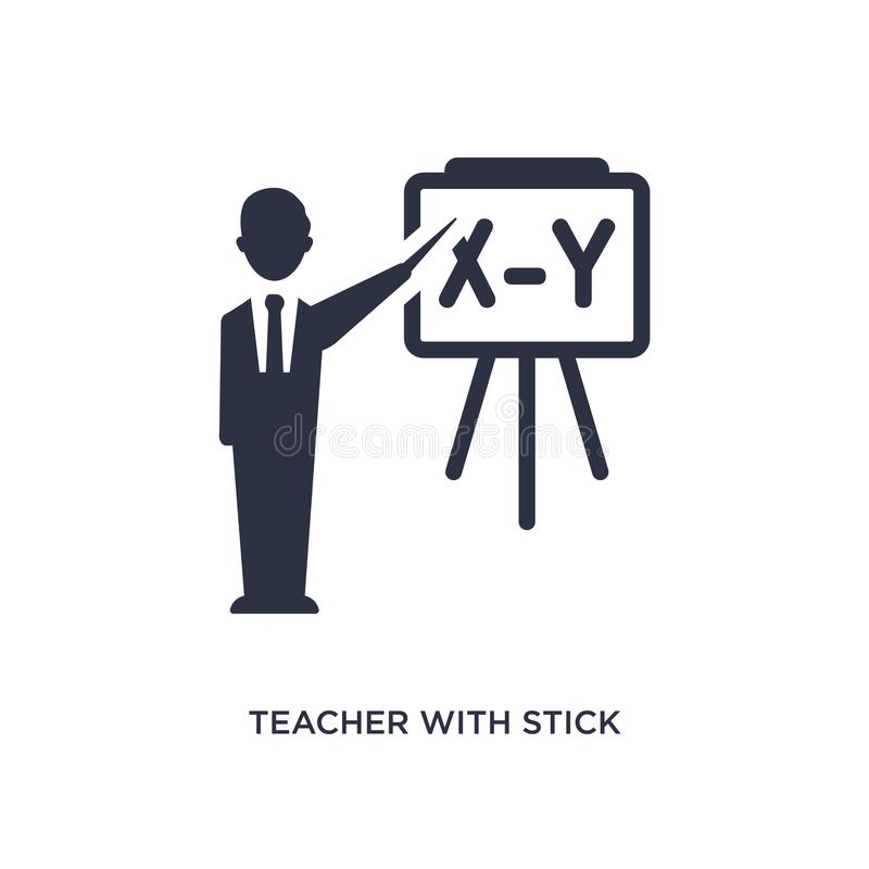 profesor con el icono del palillo en el fondo blanco Ejemplo simple del elemento del concepto de la educación ilustración del vector