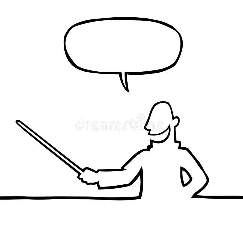 Profesor con el puntero ilustración del vector