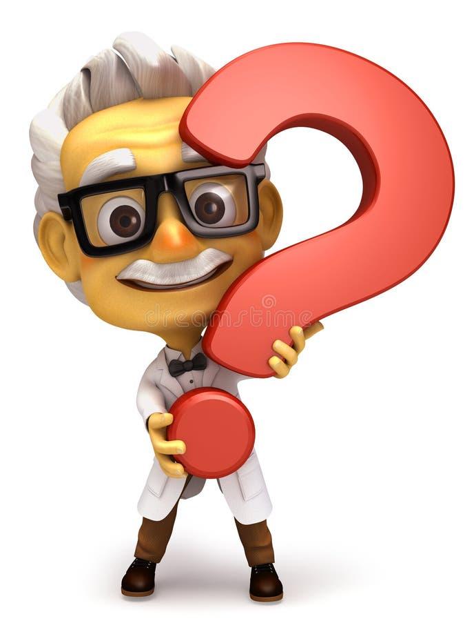 Profesor con símbolo del signo de interrogación foto de archivo libre de regalías