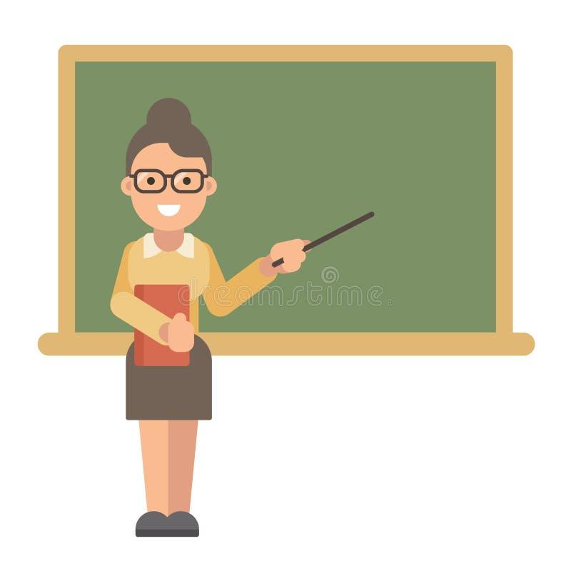 Profesor con un libro y un indicador cerca de una pizarra libre illustration