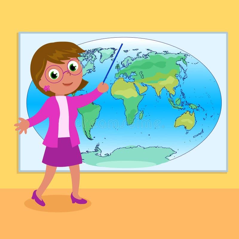 Profesor con vector del mapa del mundo stock de ilustración