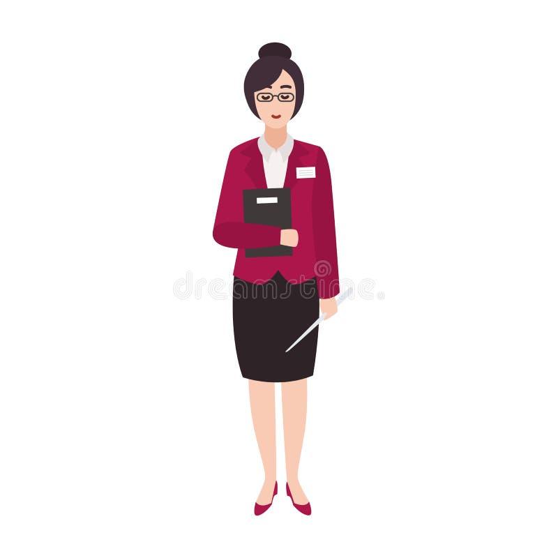 Profesor de escuela primario de la mujer alegre o trabajador educativo que sostiene el libro y el indicador Personaje de dibujos  ilustración del vector