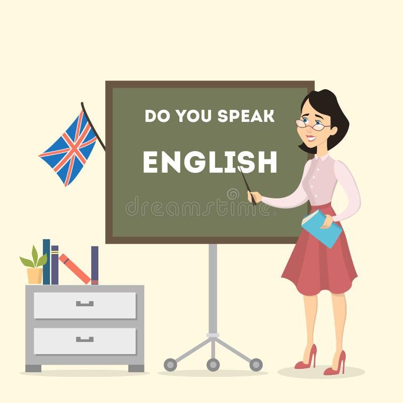 Profesor de inglés de sexo femenino stock de ilustración